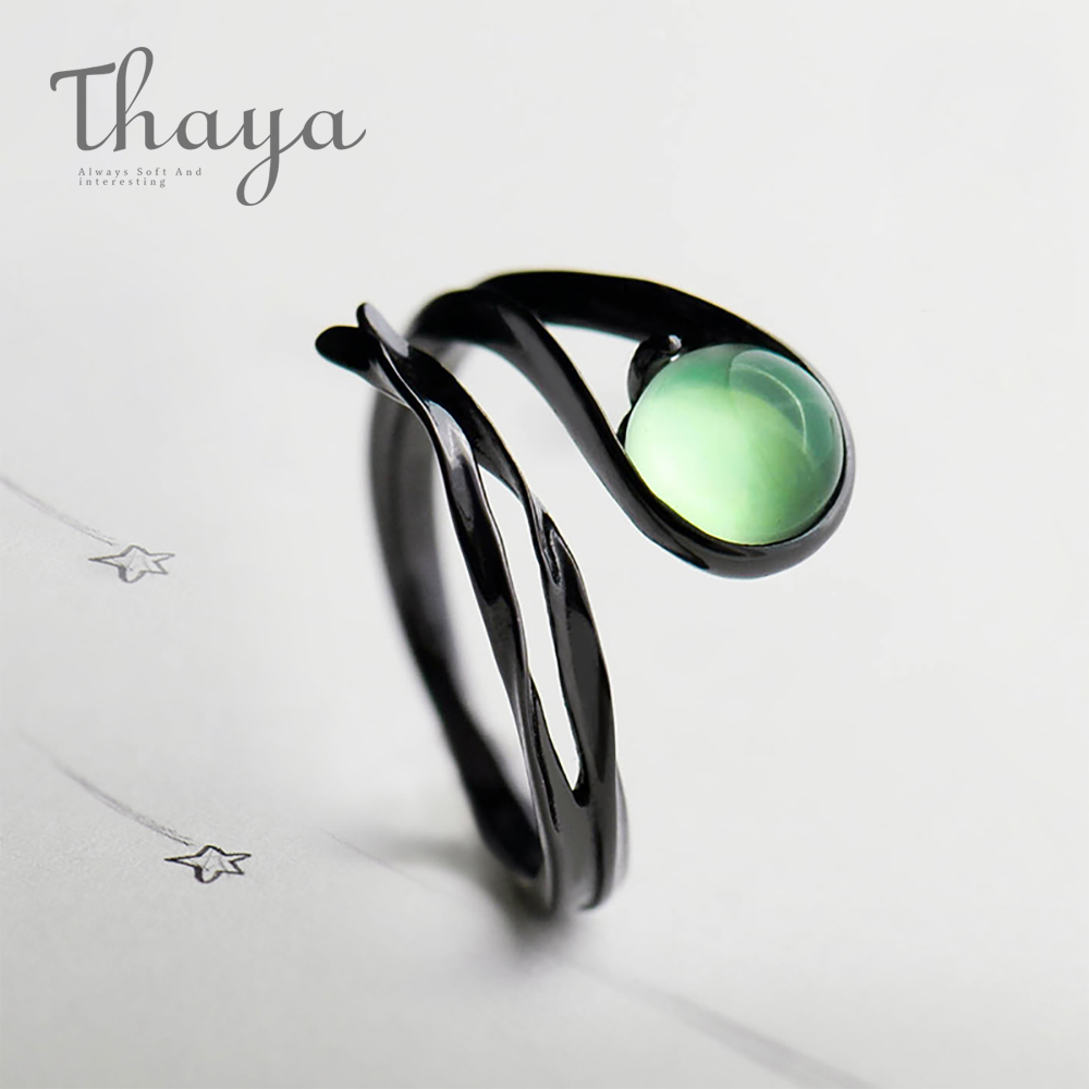 Thaya Flying Meteor Chalcedony Emerald Ring Rigidity Setting Classic Gem Stone Black S925 Sterling Silver Jewellery Ring For Ladies