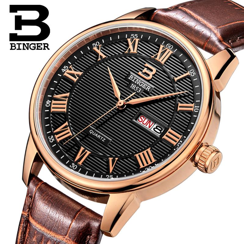 Switzerland watches men luxury brand Wristwatches BINGER ultrathin Quartz watch leather strap Auto Date Waterproof B3037