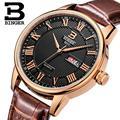 Switzerland watches men luxury brand Wristwatches BINGER ultrathin Quartz watch leather strap Auto Date Waterproof B3037-3