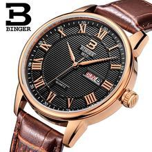 Швейцария часы мужские люксовый бренд Наручные Часы БИНГЕР ультратонкий Кварцевые часы кожаный ремешок Авто Дата Водонепроницаемый B3037-3