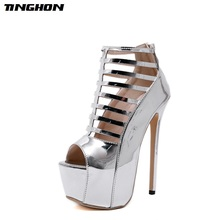 TINGHON Fashion PU Round Toe Super High Thin Heel Women Sandals Boots Zipper Hollow Out Short Tube Platform Party Shoes 35- 40