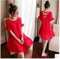 4xl más el tamaño grande ropa de mujer dress 2017 verano estilo coreano vestidos de fiesta por la noche rojo púrpura de la gasa backless dress a0677