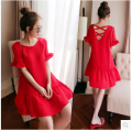 4xl plus big size women clothing dress 2017 summer style korean vestidos evening party  purple red chiffon backless dress A0677