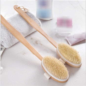 Bathroom Body Brushes Long Handle Bath Natural Bristles Brushes Exfoliating Massager With Wooden Handle Dry Brushing Shower Tool 1
