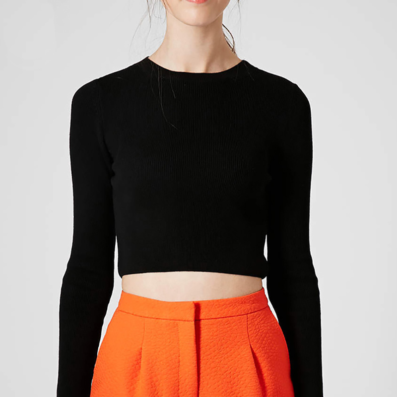 OtherLinks Solid <font><b>Round</b></font> <font><b>Neck</b></font> <font><b>Long</b></font> <font><b>Sleeve</b></font> Knitted <font><b>Sweater</b></font> Women Slim Casual Fashion Crop Top <font><b>Ribbed</b></font> 2017 New Crop <font><b>Sweater</b></font>