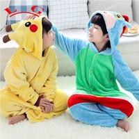 L G Anime Pokemon Pikachu Jumpsuit Cosplay Pikachu Onesie Children Kids Flannel Animal Pajamas Anime Cartoon