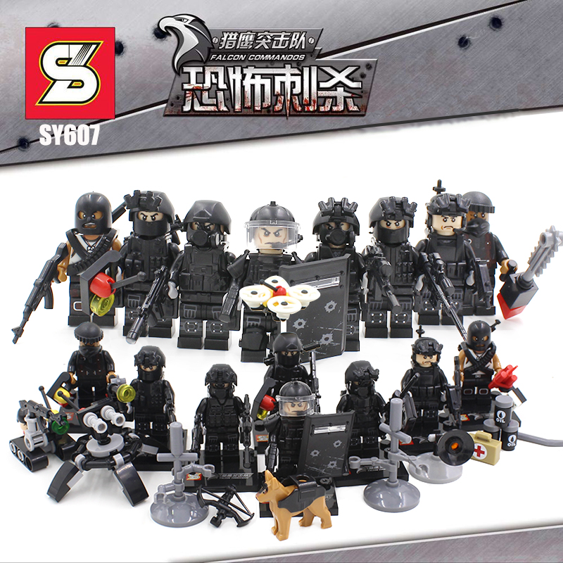 8Pcs/lot SWAT Military Minifigures Falcon Commandos Team Army soldiers Building brick Kids Toys Compatible with legoes