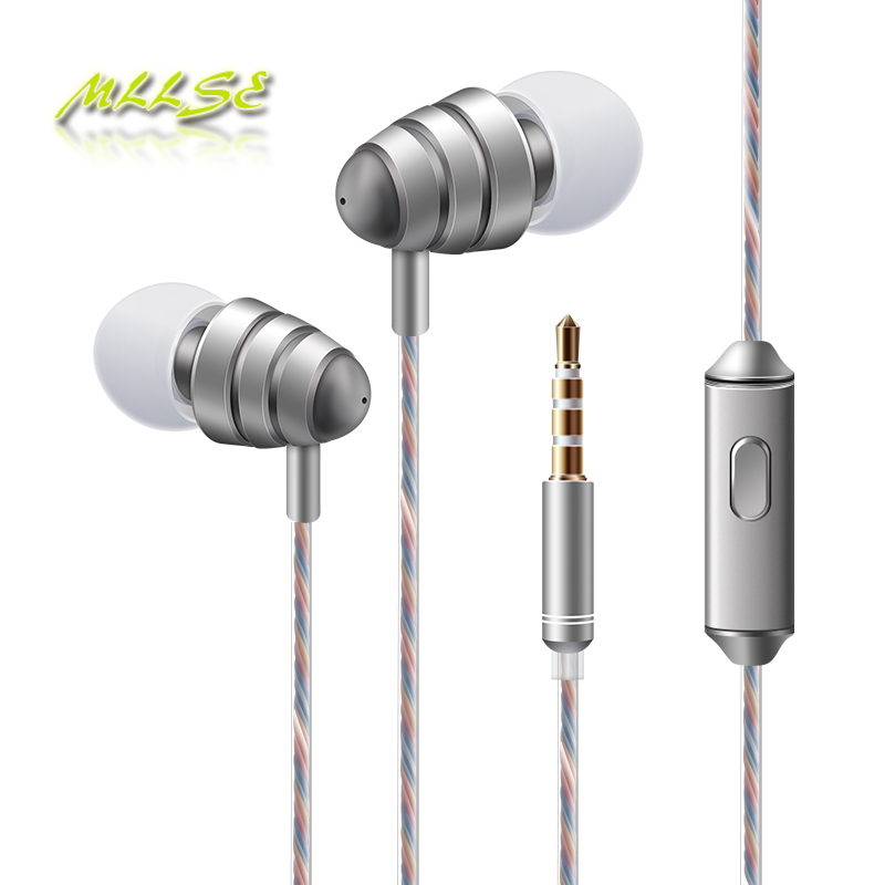 2017 Newest High Quality Best Bass 3.5mm Plug in-ear Earphones with mic Volume Control Earphone for phone clamshell phone