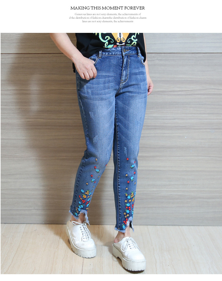 2XL 3XL 4XL Women Jeans Pants 17 Spring High Waist Casual Trousers Jeans Woman Plus Size Tassels Embroidery Ankle-Length Pants 5