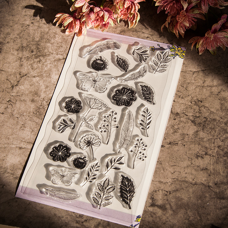 flowers and plants Butterfly Transparent Clear Stamp DIY Silicone Seals Scrapbooking Card Making Photo Album craft RZ-027 flowers lace design transparent clear stamp diy silicone seals scrapbooking card photo album for wedding gift cl 192