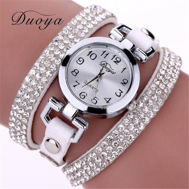 Duoya Brand Women Watches Bracelet Watch Ladies Crystal Rhinestone Leather Brace