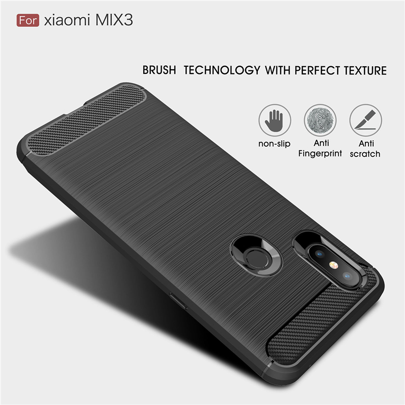 Xiaomi Mi Mix 3 Case Mi Mix 3 Cover QAZ Maggie Silicone Soft TPU Brushed Carbon Fiber Texture Case For Xiaomi Mi Mix 3