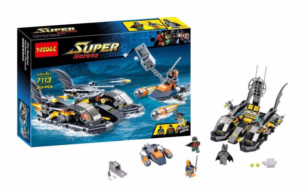 ФОТО decool 7113 dc hero batman super heroes action figure water battle boat building block minifigure toys compatible with legoe