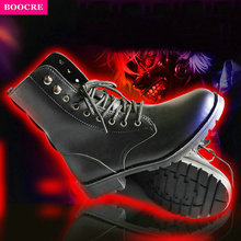 Купить с кэшбэком BOOCRE 2017 Tokyo Ghouls Cosplay Canvas Shoes Sol Ken Kaneki Mask Costumes Women Men Shoes Cos Hip-hop Cosplay Boots