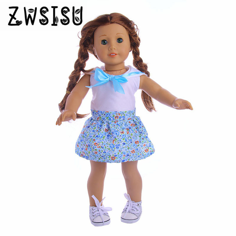 Blue princess dress, suitable for 18inch American girl doll, suitable for 43zapf doll to give children the best birthday gift