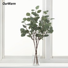 OurWarm Artificial Plants Eucalyptus Leaves Branches 65cm Silk Greenery For Weddings Decoration Fake