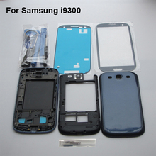 Blue Complete Full Housing Case for Samsung Galaxy S3 SIII I9300 + middle frame + battery door cover + Front outer Glass + Tools