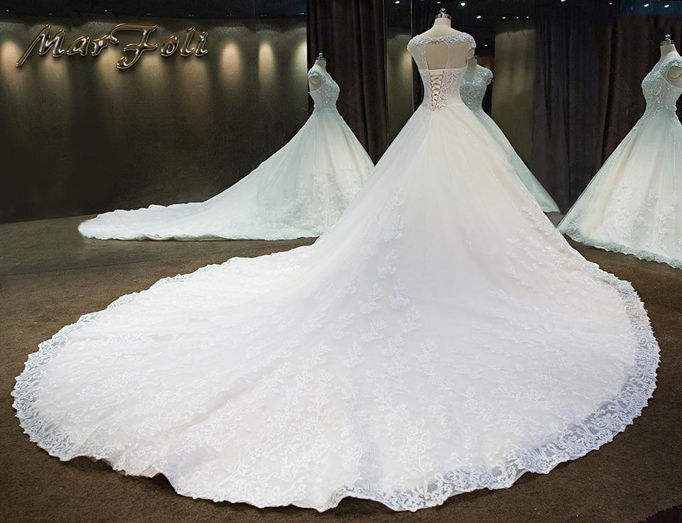2017 nieuwe mode elegante kristal kralen een lijn trouwjurken prinses - Trouwjurken - Foto 3