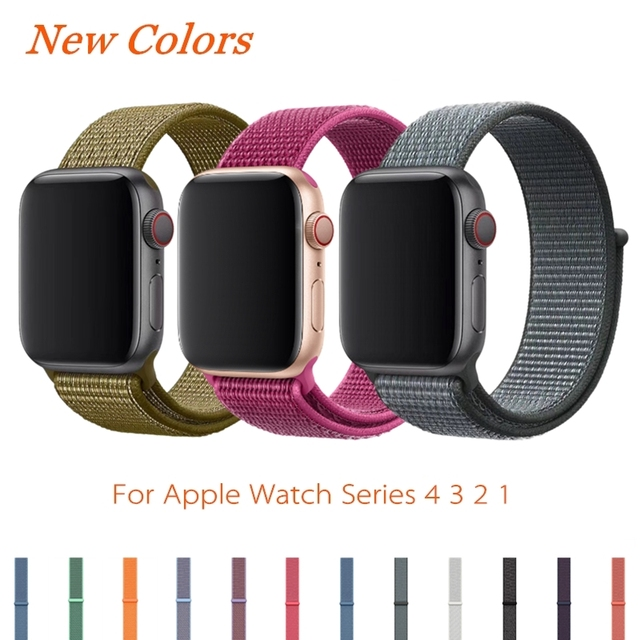 Sport Loop Strap For Apple Watch Band 4 44mm 42mm 3 2 1 iWatch Band 40mm 38mm Correa Nylon Wrist Bracelet Watch Accessories
