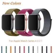 купить Sport Loop Strap For Apple Watch Band 4 44mm 42mm 3 2 1 iWatch Band 40mm 38mm Correa Nylon Wrist Bracelet Watch Accessories по цене 131.71 рублей