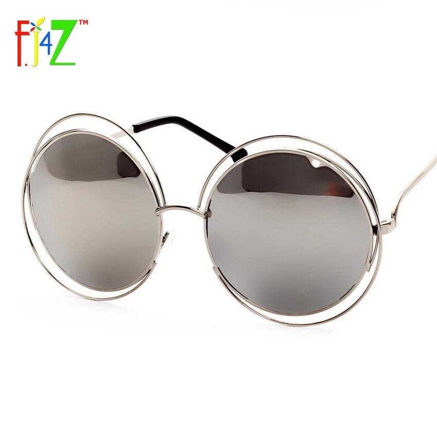 F.J4Z 2017 Módní Dámské Dutý Rám Velký Kulatý Kruh Zrcadlo Brýle Stíny Módní Ochrana očí Sluneční brýle pro ženy UV400
