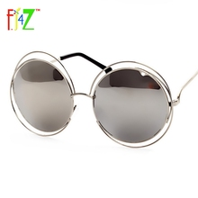 F.J4U 2017 Fashion Women Hollow Frame Big Round Circle Mirror Goggle Shades Trendy Eye Protection Sunglasses for woman UV400