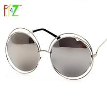 F.J4U 2017 Fashion Women Hollow Frame Big Round Circle Mirror Goggle Shades Trendy Eye Protection Sunglasses for woman UV400 все цены