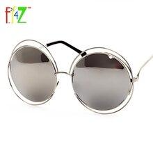 F.J4Z 2017 Fashion Women Hollow Frame Big Round Circle Mirror Goggle Shades Trendy Eye Protection Sunglasses for woman UV400
