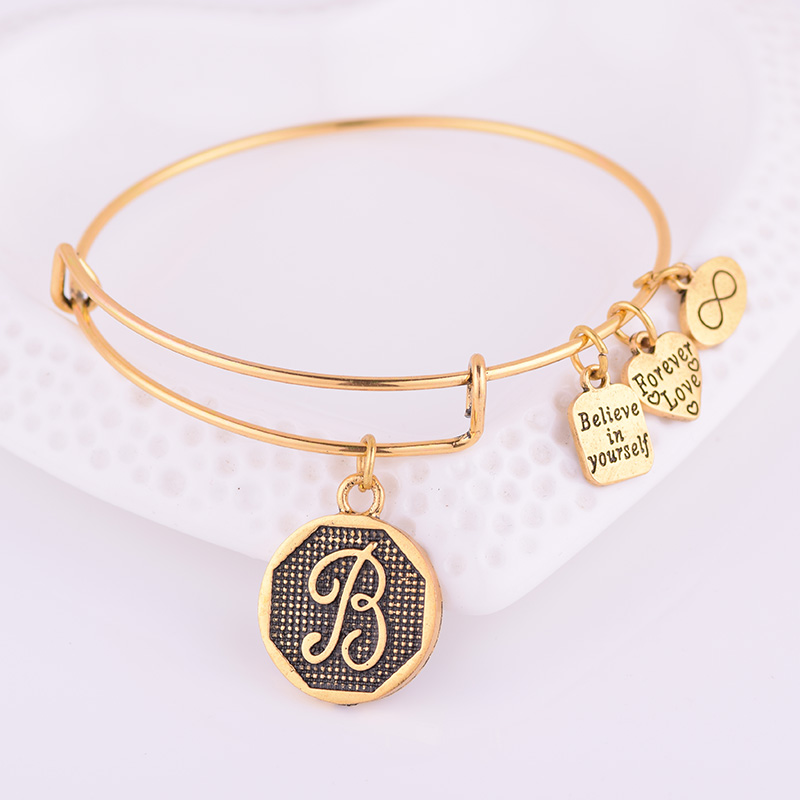 Jewelry & Access. ...  ... 32791678632 ... 4 ... Expandable Bracelet ANCIENT GOLD A-Z Initial Letter American Fashion Charm Alphabet Bracelet Adjustable Wire Wrap Cuff Bangle ...