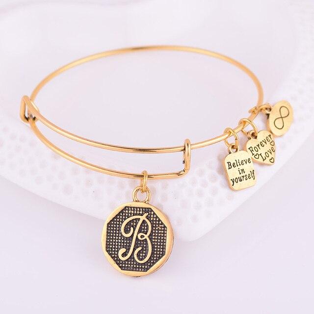 Expandable Bracelet ANCIENT GOLD A-Z Initial Letter American Fashion Charm Alphabet Bracelet Adjustable Wire Wrap Cuff Bangle 3
