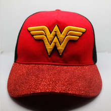 Wonder Woman Cosplay Cap Black red Novelty Justice League unisex dress 3D embroidery mesh cap Hat charms Summer Baseball cap