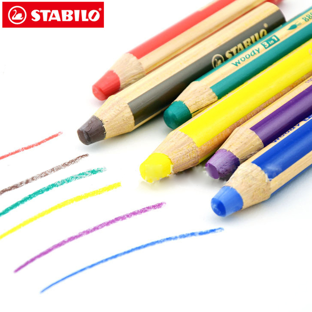 STABILO 8806 Woody 3 In 1 Crayons Color Pencil Non toxic Child ...