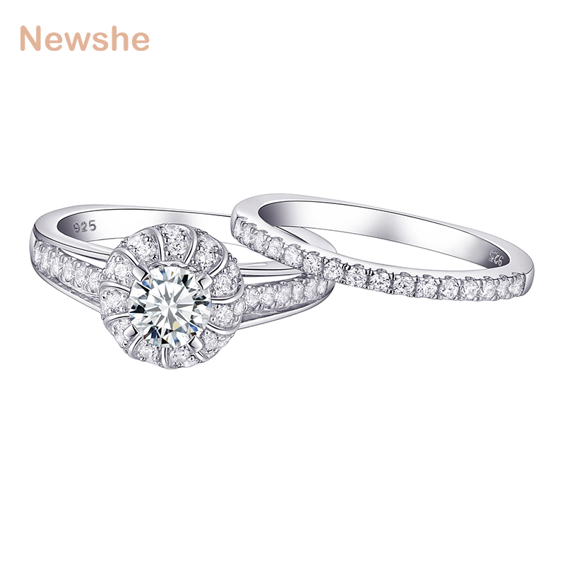 Newshe 2018 Arrival Wedding Ring Bridal Set 925 Sterling Silver 1 Ct Halo CZ Engagement Rings For Women Eternity Classic Jewelry