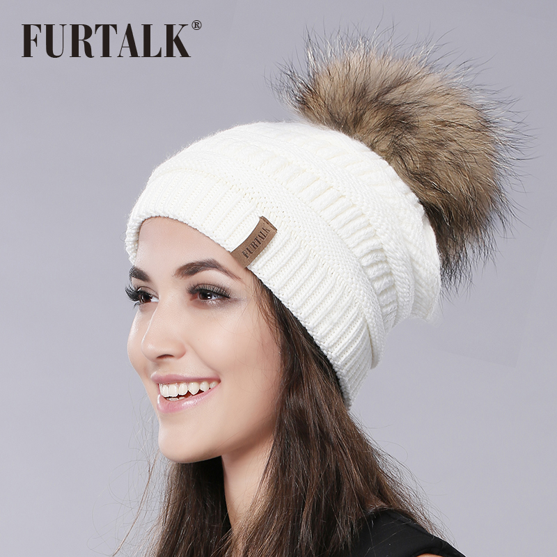 e8b29b5112d FURTALK Women Winter Fashion Raccoon Fur Big Pom Pom Hat Fur Hat Knit Pom  Pom Hat