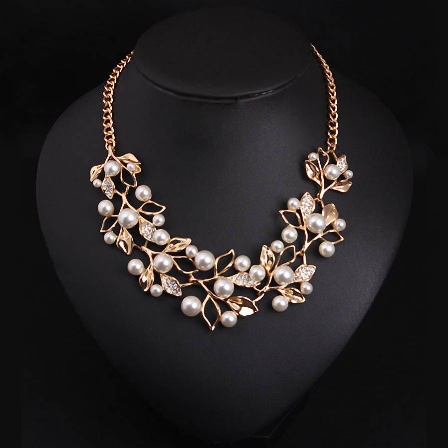 Матч-правой имитация Ожерелья с жемчужинами и Подвески Листья себе Цепочки и ожерелья Для женщин ожерелье Этнические украшения для персонализированные подарки