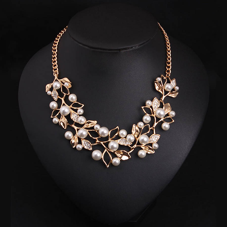 Matchright Simulated Pearl Necklaces & Pendants Leaves Statement Necklace  Women Collares Ethnic Jewelry For