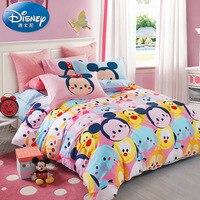 Disney Children Mickey Minnie Mouse Bedding Sets Home textile Soft Cartoon Quilt Cover Pillowcase Bed Sheet Bed Linen girl boy