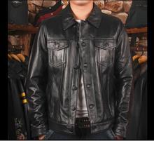 משלוח חינם, 2018 סגנון חדש עור פרה בתוספת גודל מעיל. בציר נאה גבר אמיתי עור מעילים. איכות מעיל. sales.110