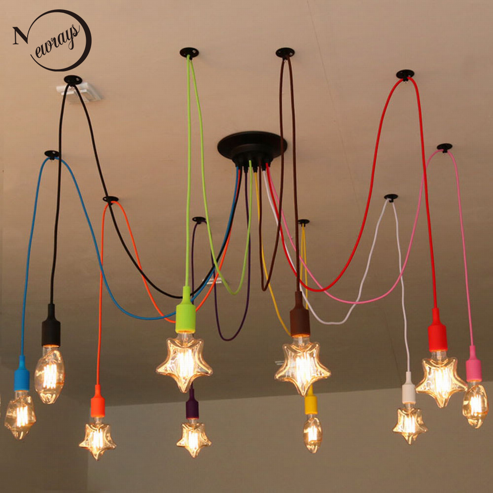 Diy colourful spider chandelier lamp lights led retro for What is a spider lamp