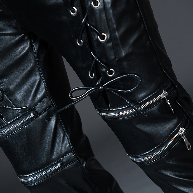 New Winter Spring Men's Skinny Leather Pants Fashion Faux Leather Trousers For Male Trouser Stage Club Wear Biker Pants 29