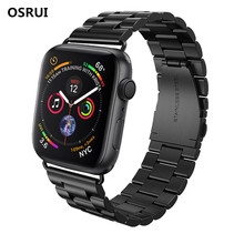 цена на OSRUI Stainless Steel Strap for Apple Watch 4 Band 42mm 38mm aplle iwatch series 3 2 1 42MM/38MM metal wristband Bracelet belt
