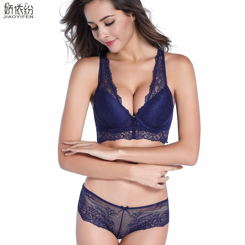 JYF Hot Sale Women Victoria Underwear   Set   Sexy Lace Gather Deep V   Bra     Brief     Sets   High Quality Lingerie Lace Push Up   Bra     Set
