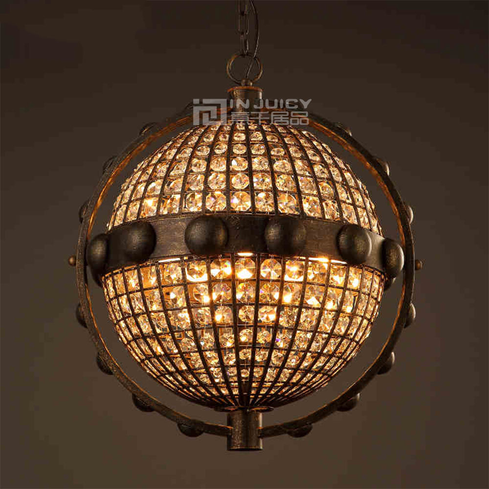 Loft Retro Vintage Globe K9 Crystal Chandelier Cafe Bar Hotel Store Restaurant Pendant Lamp Industrial Edison Droplight Fixture loft edison vintage retro cystal glass black iron light ceiling lamp cafe dining bar hotel club coffe shop store restaurant