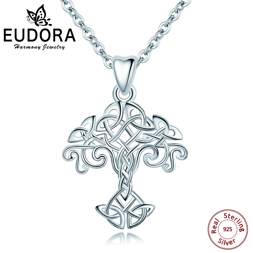 цены Eudora 100% 925 Sterling Silver Tree of Life Necklace Pendant Celtics Knot Choker Women Collar For Female Fashion Jewelry Gift