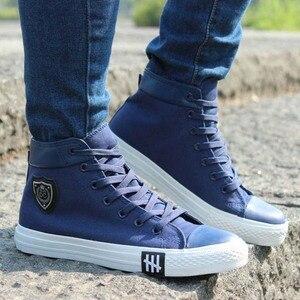 Image 5 - Men Casual Shoes Sneakers Breathable High Top Canvas Shoes Men Espadrilles Fashion White Lace Up Men Shoes Flat Zapatos Hombre