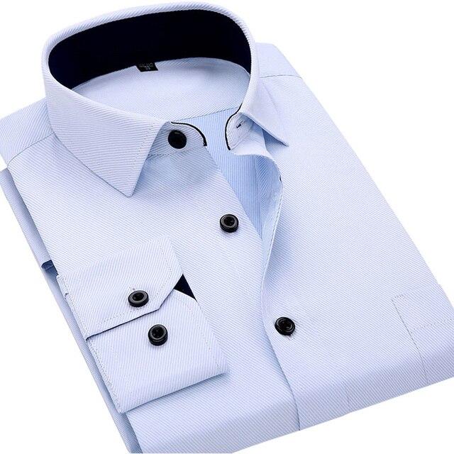 Высокое Качество 2017 Весна Новый Люксовый Бренд Белый Бизнес Мужские Рубашки Хлопка С Длинным Рукавом Pure Color Мужчины Дизайнерские Футболки