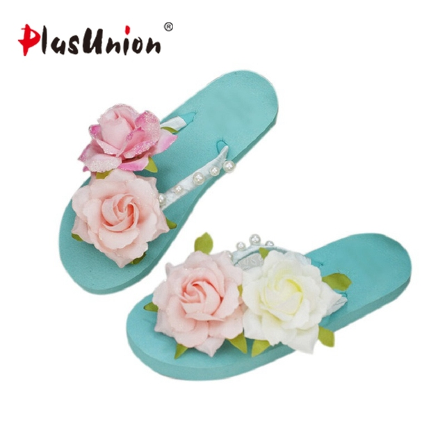 Women flower bordered slippers low wedge flipflops platform beach seaside flop slides shoes