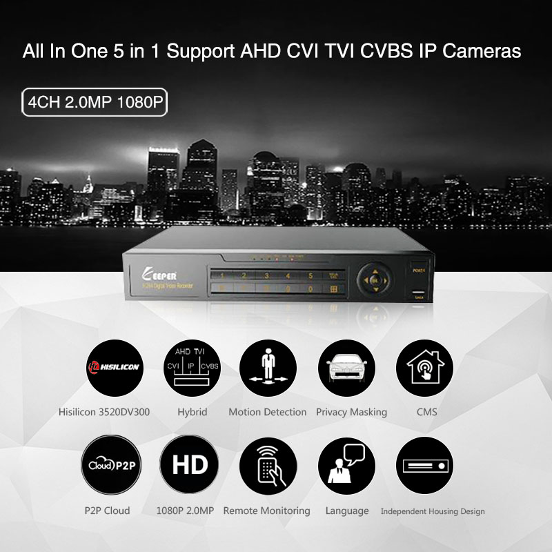 KEEPER 4 Channel 1080P AHD Full HD 5 in 1 Hybrid DVR Surveillance Video Recorder Support TVI CVI AHD CVBS IP Camera 4
