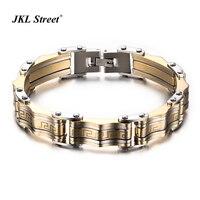 10MM Luxury Men S Bangle Gold 316l Stainless Steel Merging Charming Great Wall Carving Bulk Bracelet