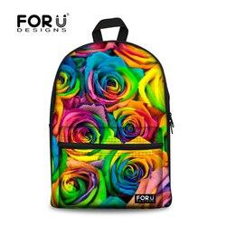 FORUDESIGNS 3D róża  reprodukcji na płótnie torby szkolne dla dzieci Student szkoła księga torba Mochilas Infantil kobiecy plecak Bolsa